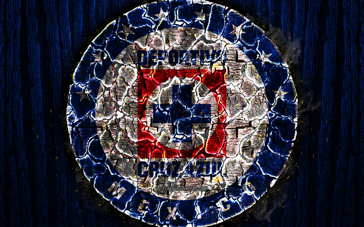 Download wallpapers Cruz Azul, scorched logo, Primera.