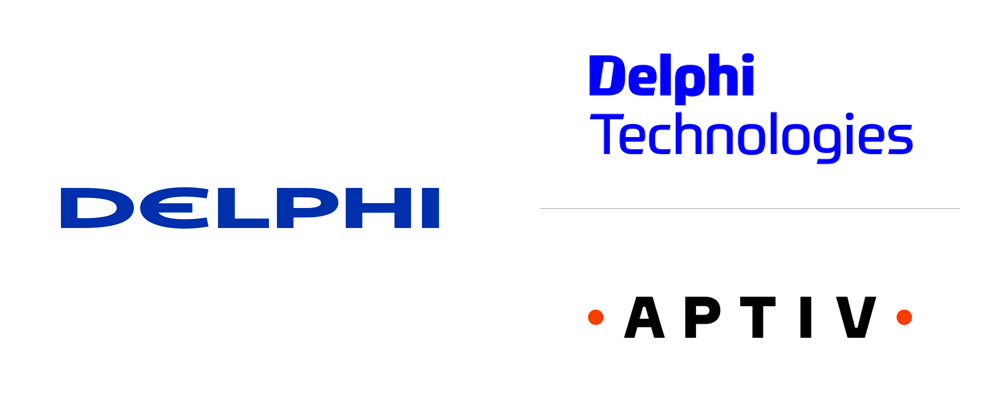 Brand New: New Logos for Delphi Technologies and Aptiv.