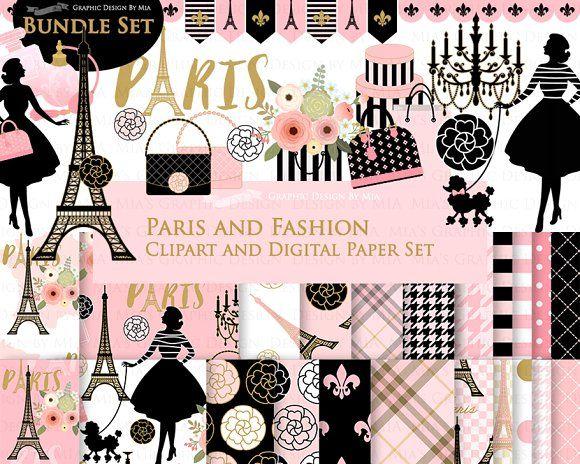 Paris Fashion Clipart+Pattern set by Mia\'s Graphic Design.