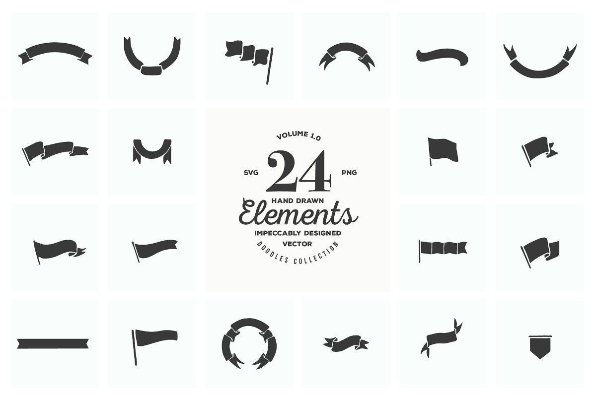 24 Hand Drawn Logo Elements SVG PNG.