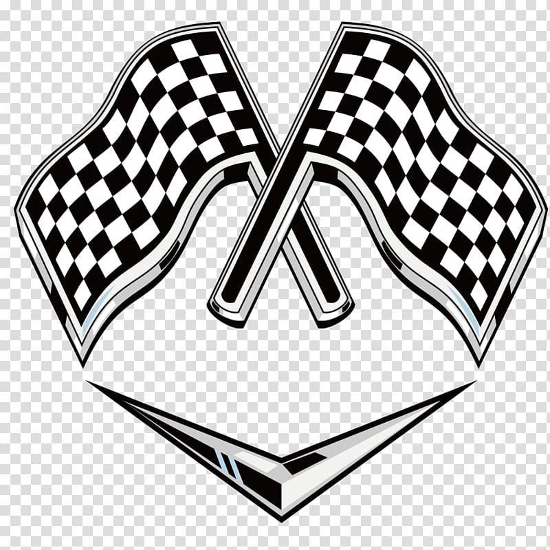 Two checked flags, Racing flags Auto racing Logo, F1 Racing.