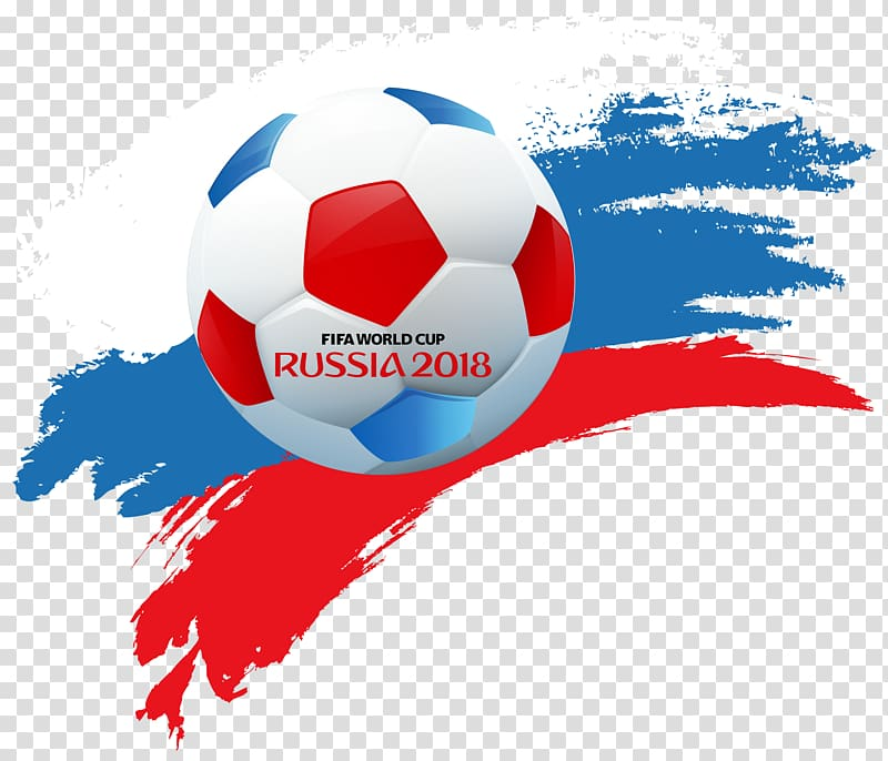 Blue, white, and red Russia 2018 logo, 2018 FIFA World Cup.
