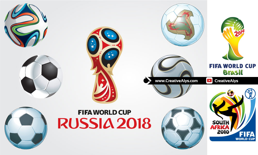 FIFA World Cup Footballs and Logos in Vector.