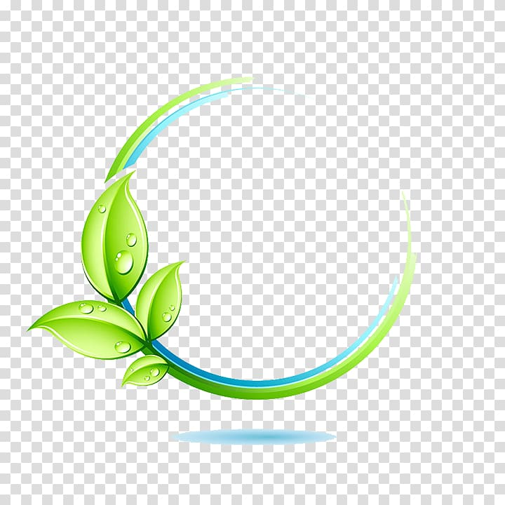 Green leaves , Logo Environment Icon, frame transparent.