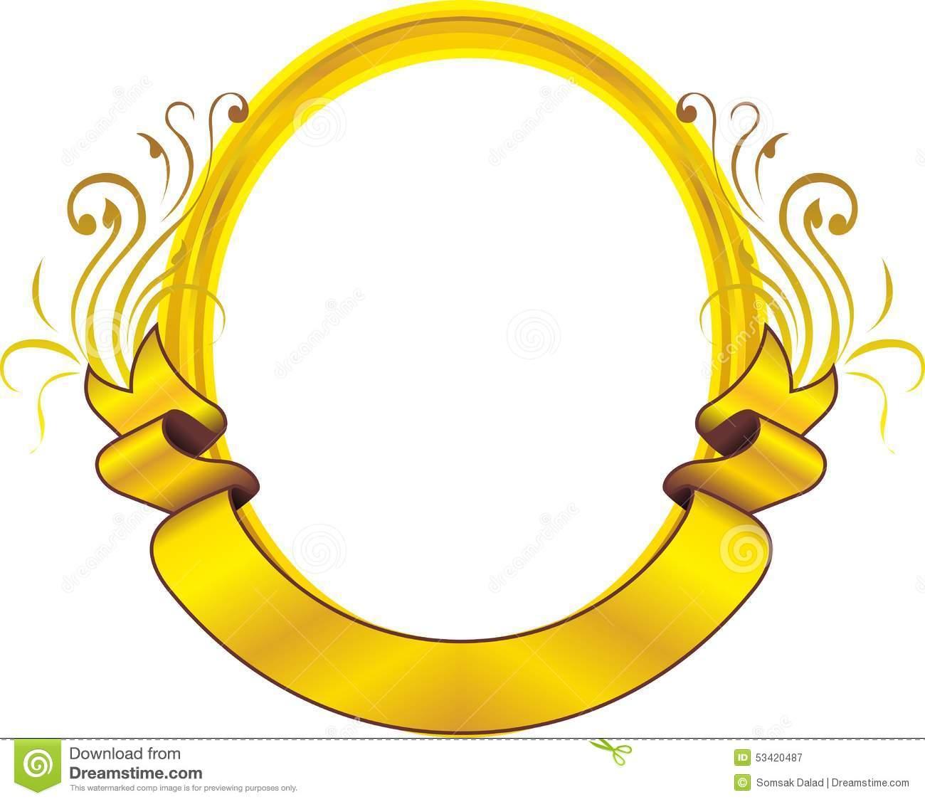 Goldden oval frame floral stock vector. Illustration of.