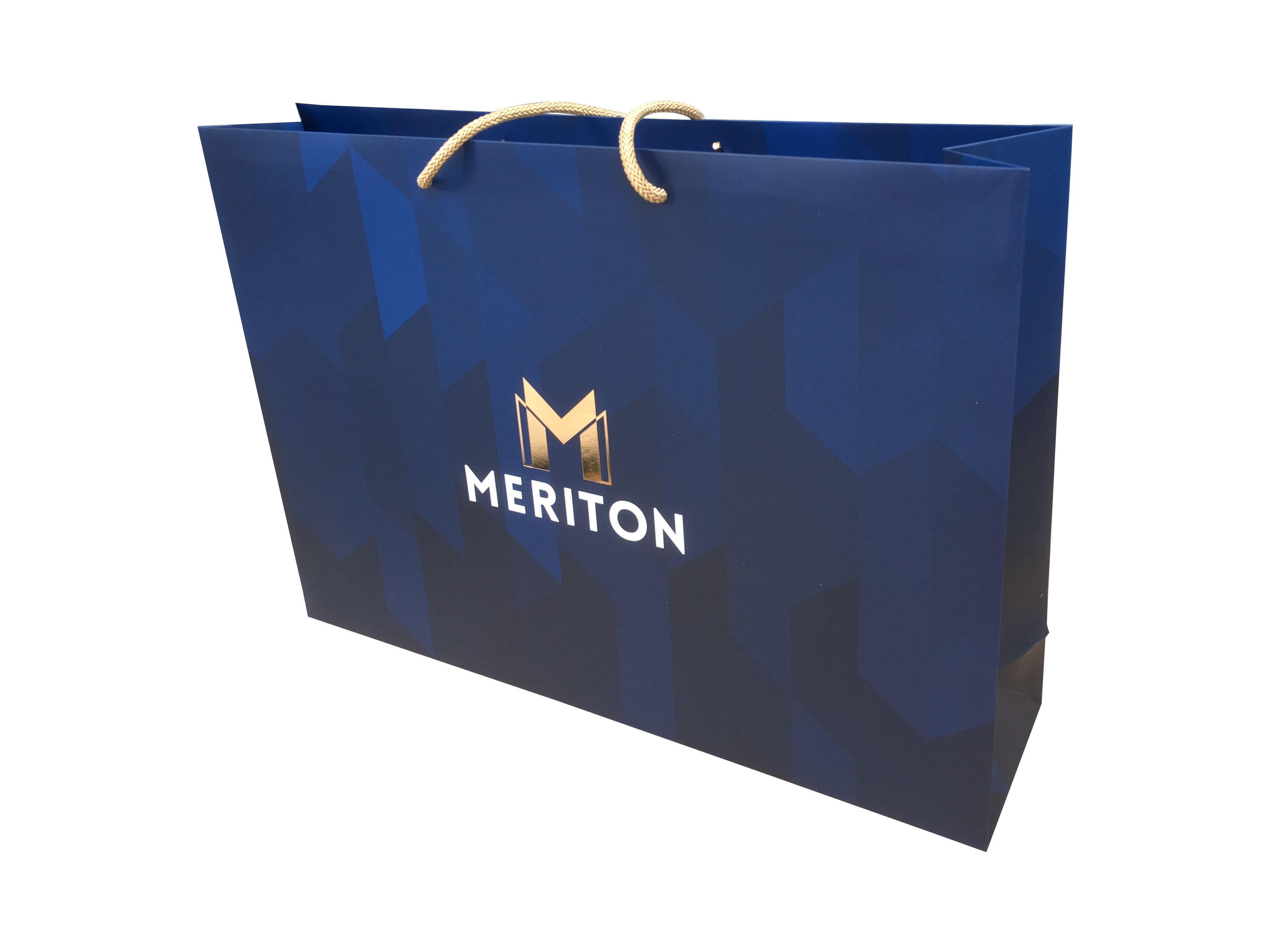 Corporate branded paper bag. Marketing promotional gift bag.