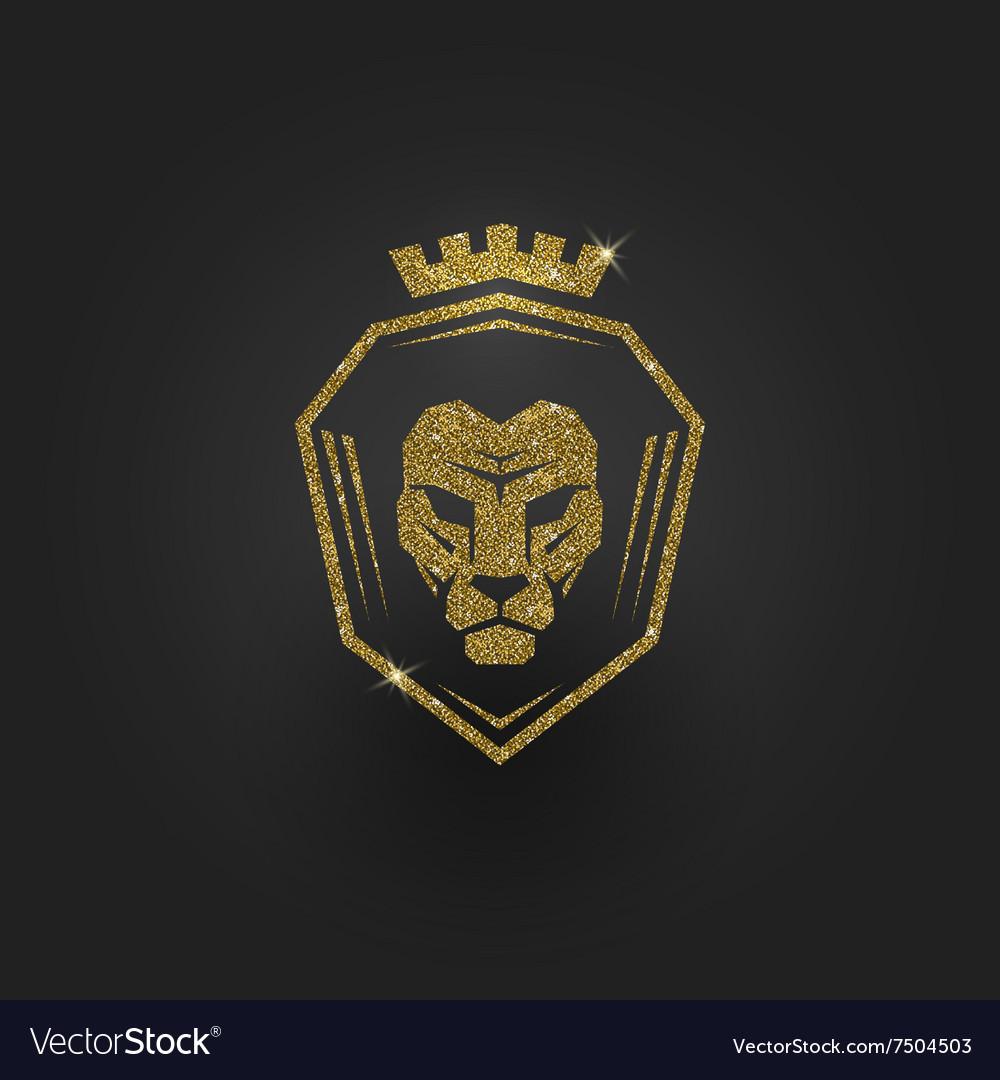 Glitter gold lion logo.