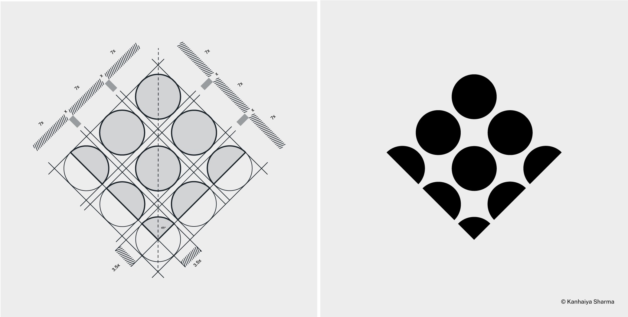 Logo Design with Grid System: Logo Grid Construction.