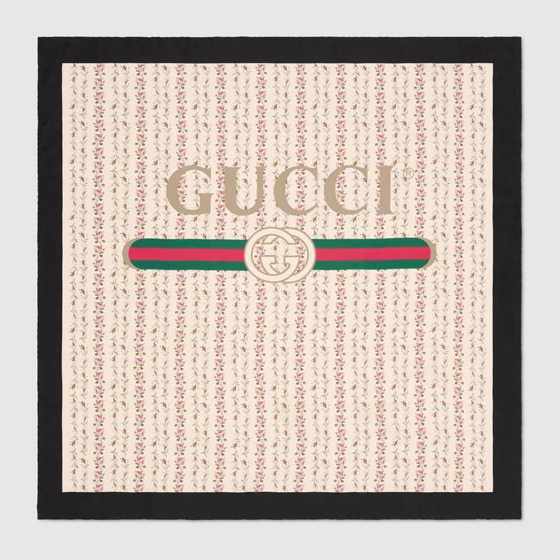 Gucci logo rose print silk scarf.