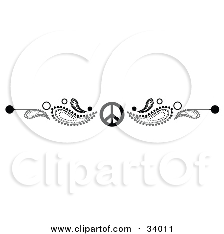 Clipart Illustration of a Black And White Paisley And Peace Symbol.