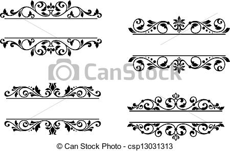 Vector Clip Art of Header frame with retro floral elements for.
