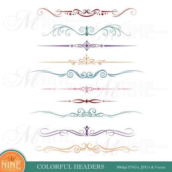 COLORFUL HEADER Clip Art: Headers Clipart Design Elements, Vintage.