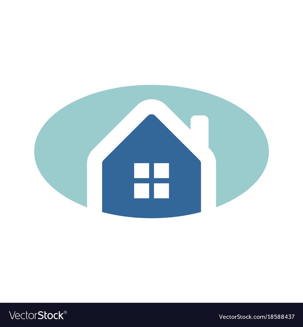 Simple oval blue home logo.