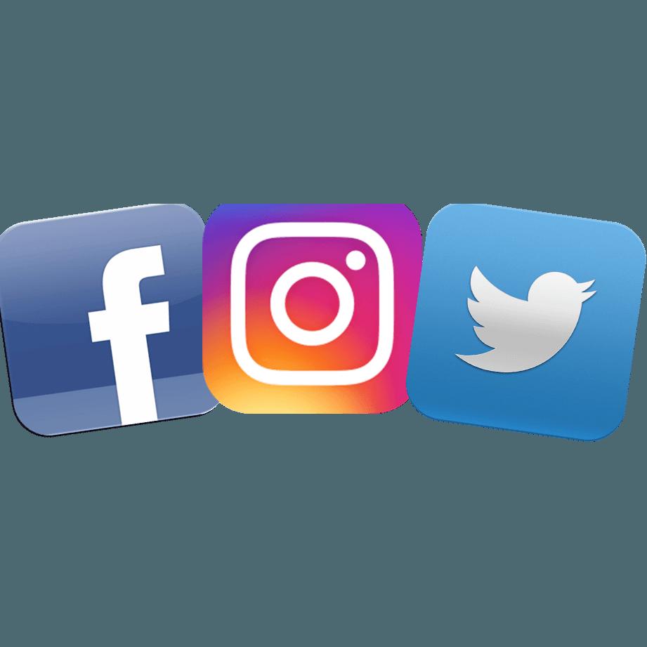 Find Us On Facebook and Instagram Logo.