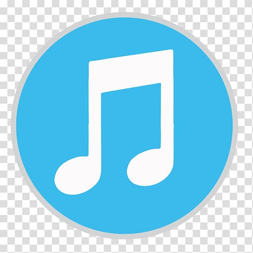 Music player logo, blue area text brand, iTunes transparent.