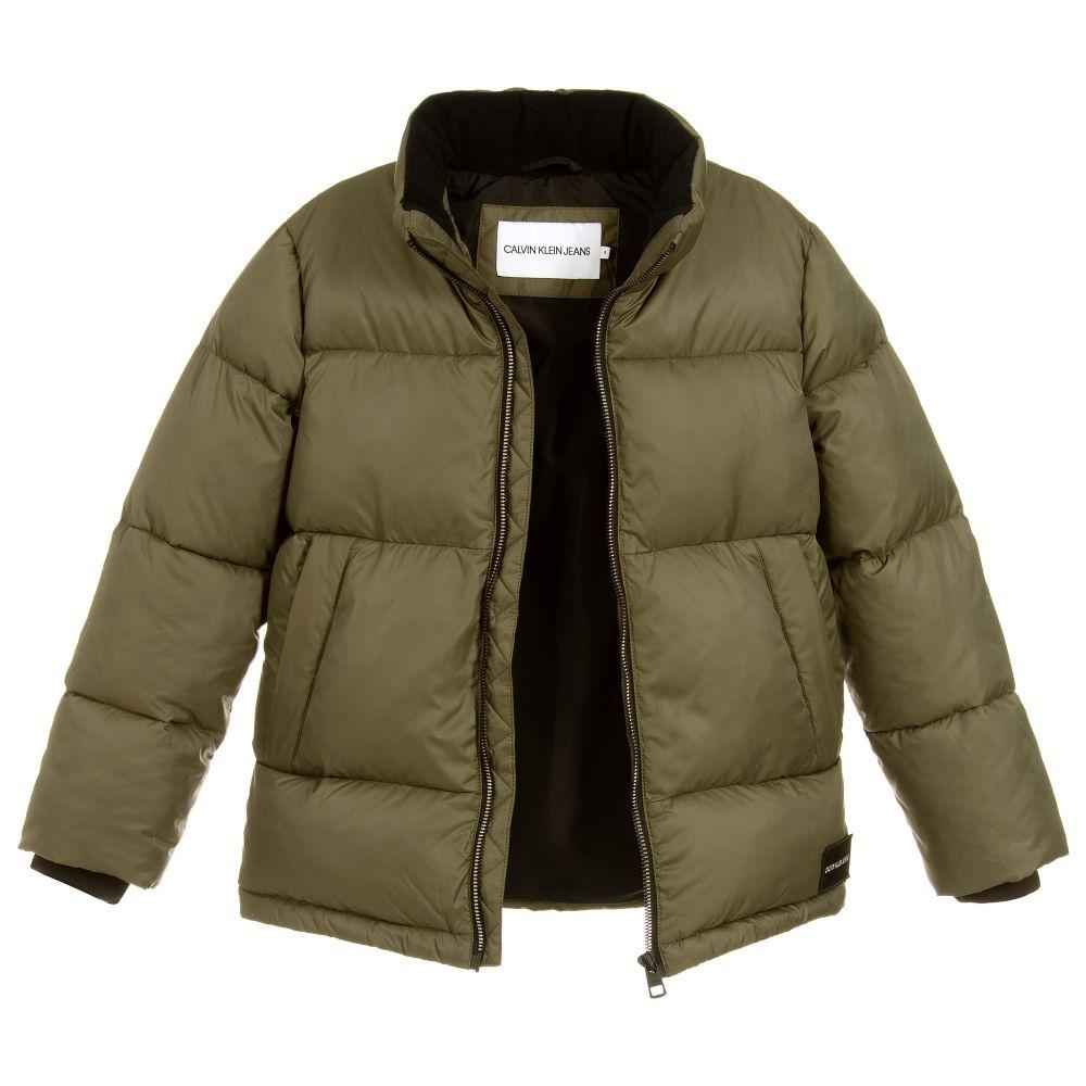 Calvin Klein Jeans Green Logo Puffer Jacket.