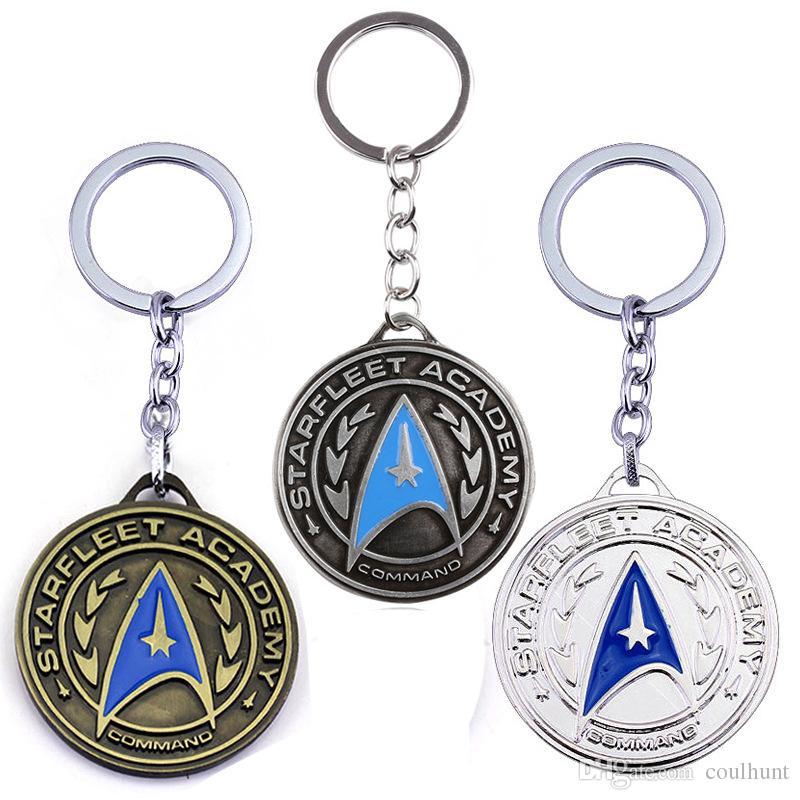 2019 Movie Star Trek Keychains Star Fleet Logo Round Alloy Pendant Keyring  Movie Star Trek Shield Antique Bronze Plated Academy Badge Keychain From.