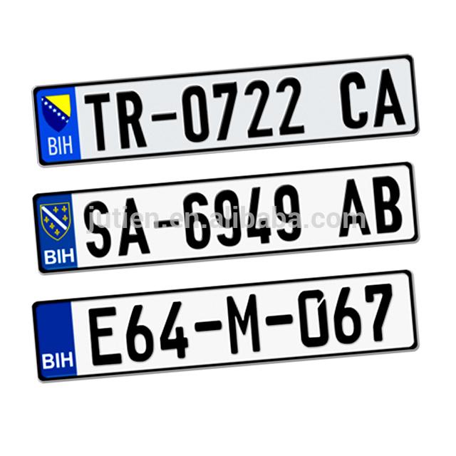 European Custom Registered Number License Plates With Embossed Logo.