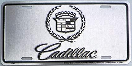 Cadillac Logo Silver with Black Logo License Plate.