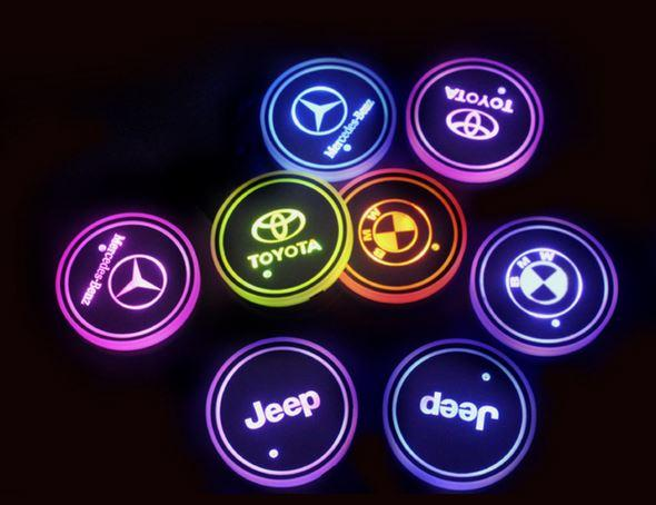 Led Car Logo Cup Lights up Holder USB Charging 7 Colors Changing.