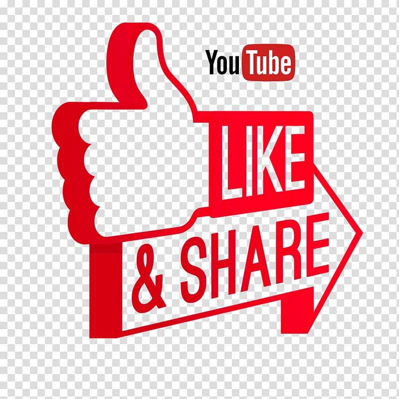 Youtube logo, Like and Share on Youtube transparent.