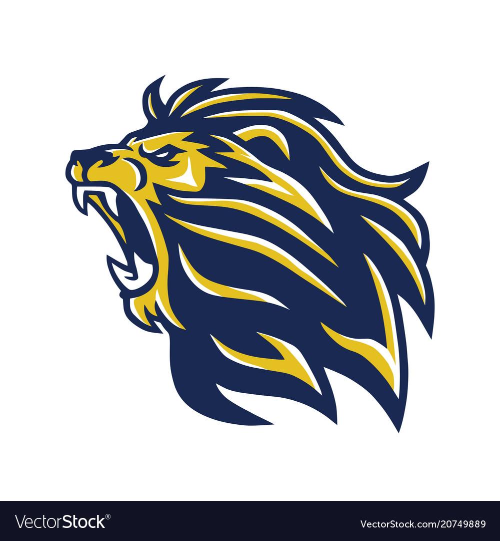 Wild lion head mascot roaring logo.