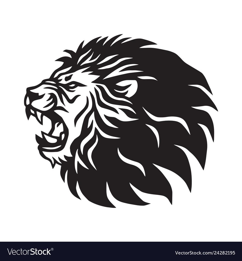Roaring lion logo mascot design.