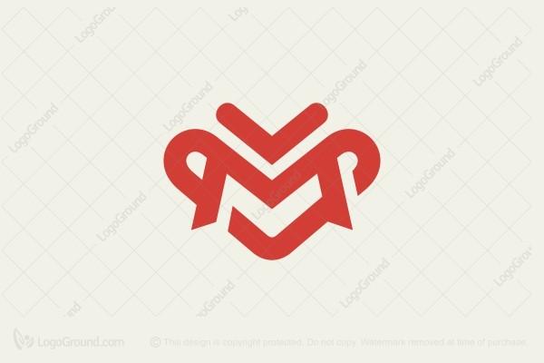 Exclusive Logo 165867, Letter M Heart Logo.