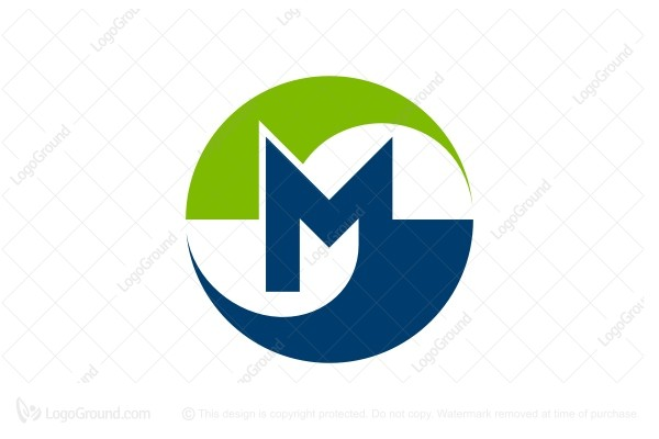 Exclusive Logo 188150, Blue And Green Swoosh Letter M Logo.
