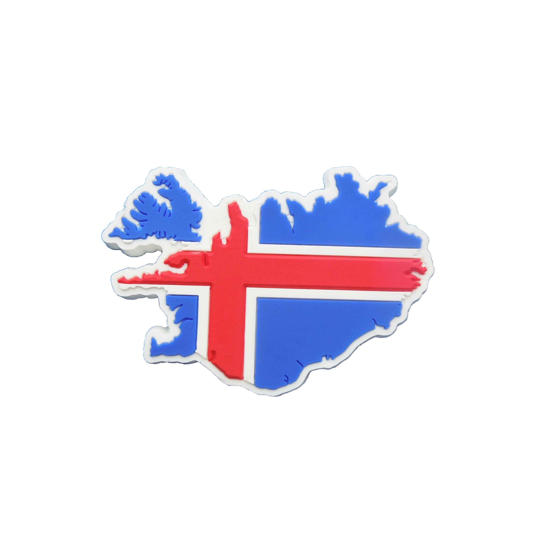 Promotional Iceland Map Shape With Iceland National Flag Logo Rubber Soft  Pvc Fridge Magnets.