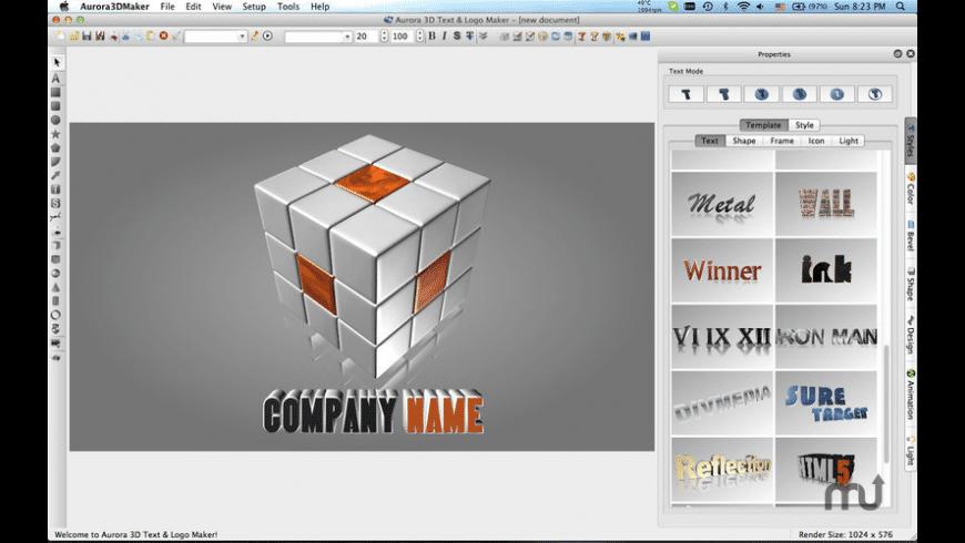 Aurora 3D Text & Logo Maker for Mac.
