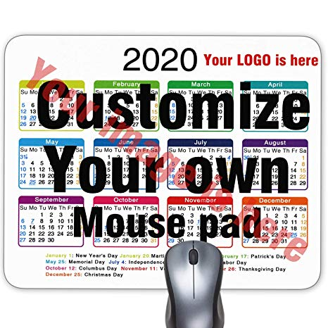2020 Calendar Personalized Mouse pad, Add Pictures, Text, Logo or Art  Design and Make Your own Customized Mousepad.