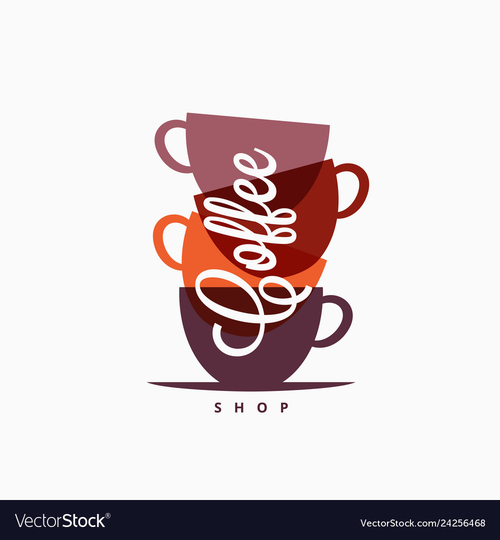 Coffee cup logo coffee mugs color banner on white.