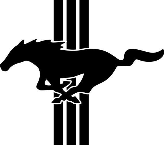 Black and White Mustang Logo.