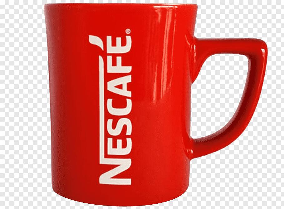 Red Nescafe ceramic mug, Coffee cup Tea Mug Nescafé, Nescafe.