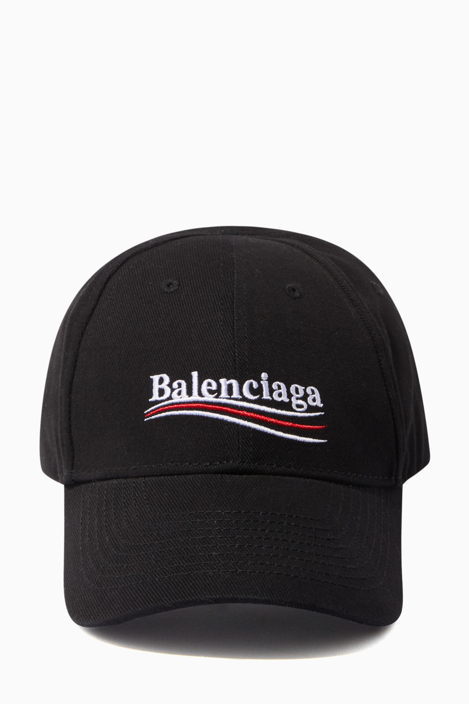 Shop Balenciaga Black Political Logo Baseball Cap for Men.