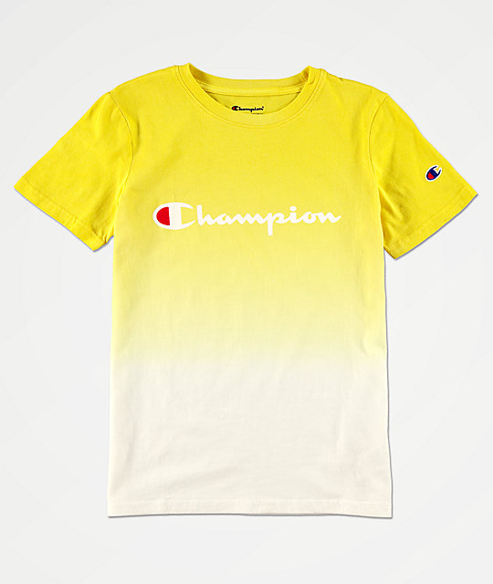 Champion Boys Logo Dip Dyed Sunny Yellow T.