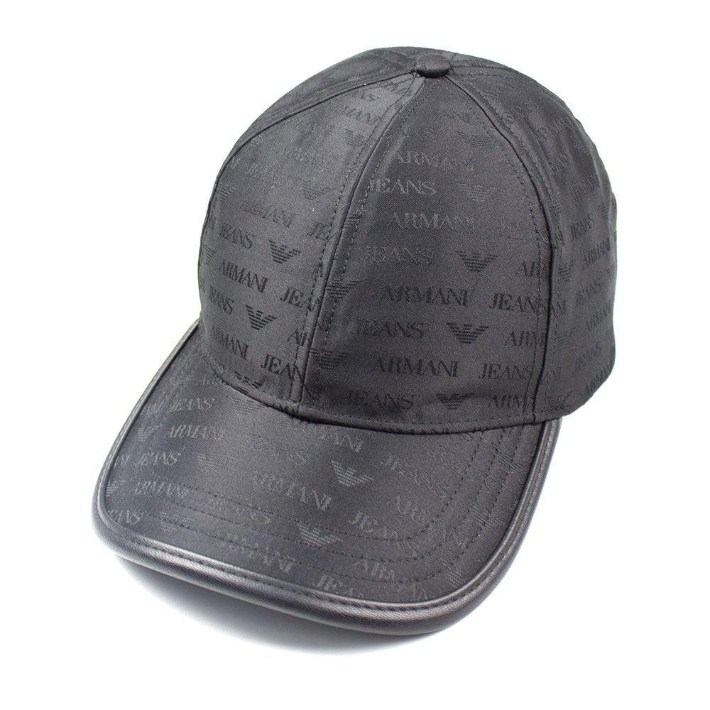 AJ Logo Print Cap Black.