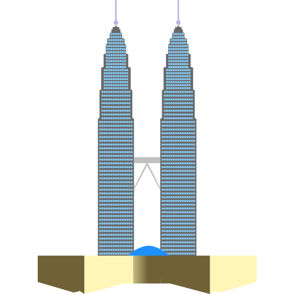 Petronas Twin Towers in Kuala Lumpur vector clip art.