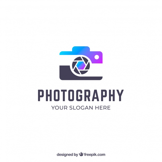 Photography logo with gradient colors Vector.