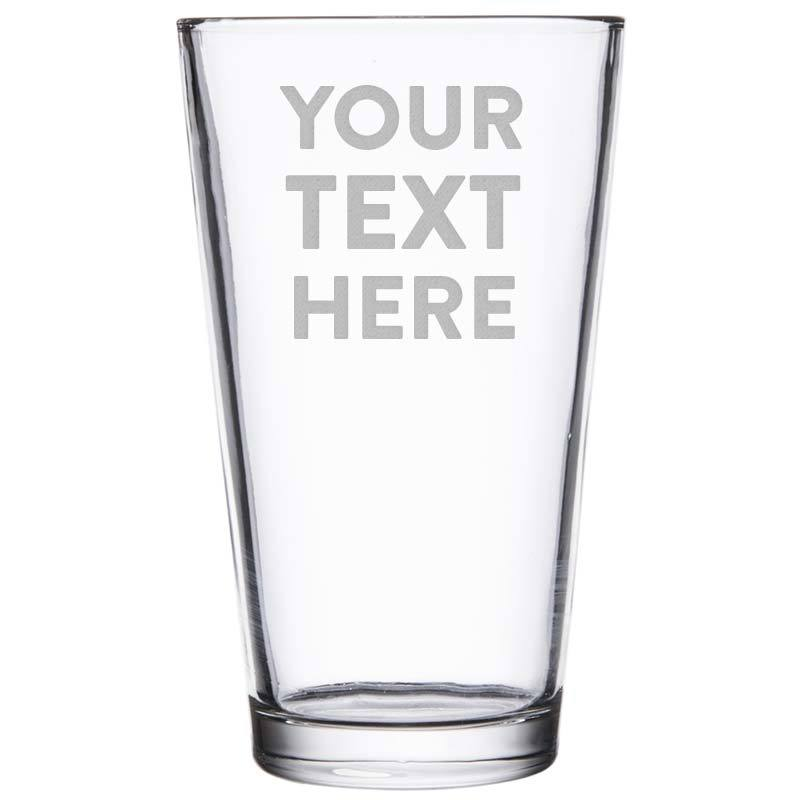 Personalized Pint Glass Custom Engraved with Your Text or Logo.
