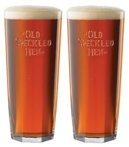 Details about Pair Of (2) Old Speckled Hen Pint Glasses Embossed Fox Logo  Glass Lager CE M10.