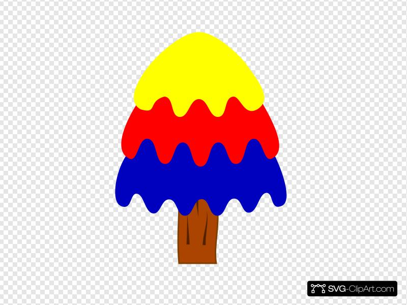 3 Layer Blue, Red, Yellow Tree Clip art, Icon and SVG.