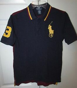 Details about Polo Ralph Lauren #3 Youth Big Horse Logo Polo Shirt  Blue/Maroon Large (14.