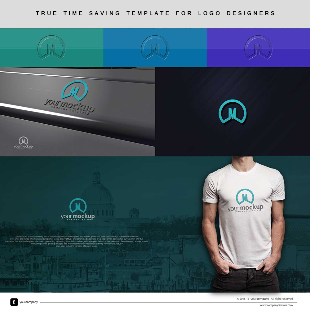 Time Saving Free Logo Presentation Template For Logo.