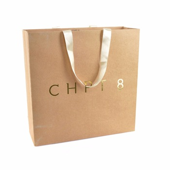 Kraft Paper Bags With Custom Logo Print Emboss Deboss Custom Rope Handle.