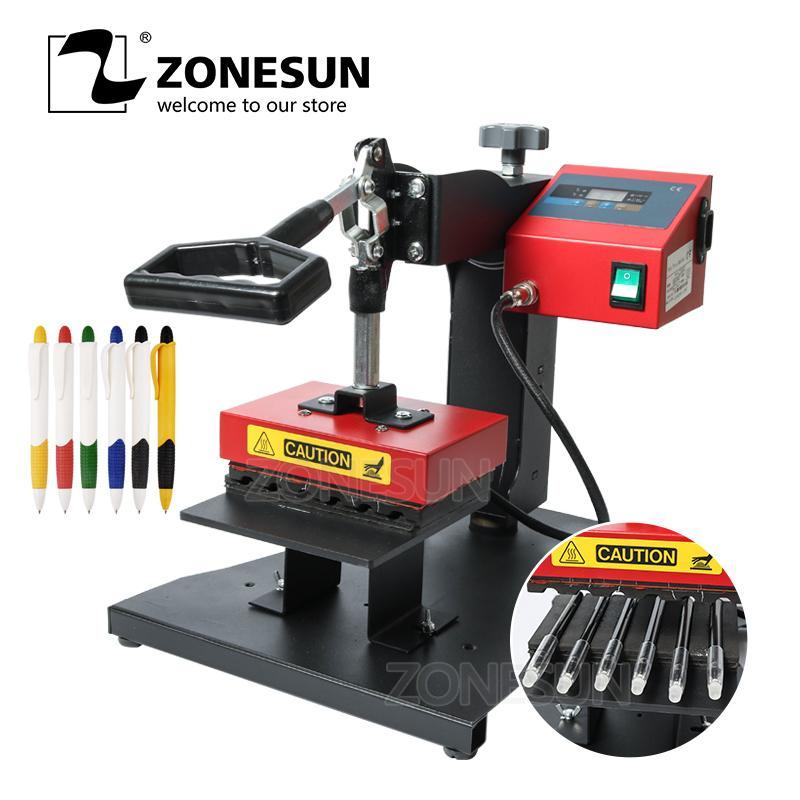 ZONESUN Pen Heat Printing Machine Hot Transfer Printing Machine Press  Machine For Plastic Ball Point Pen Logo Pressing Machine.