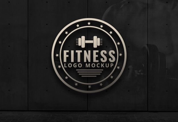 Fitness logo mockup gym dark background wall mockup.