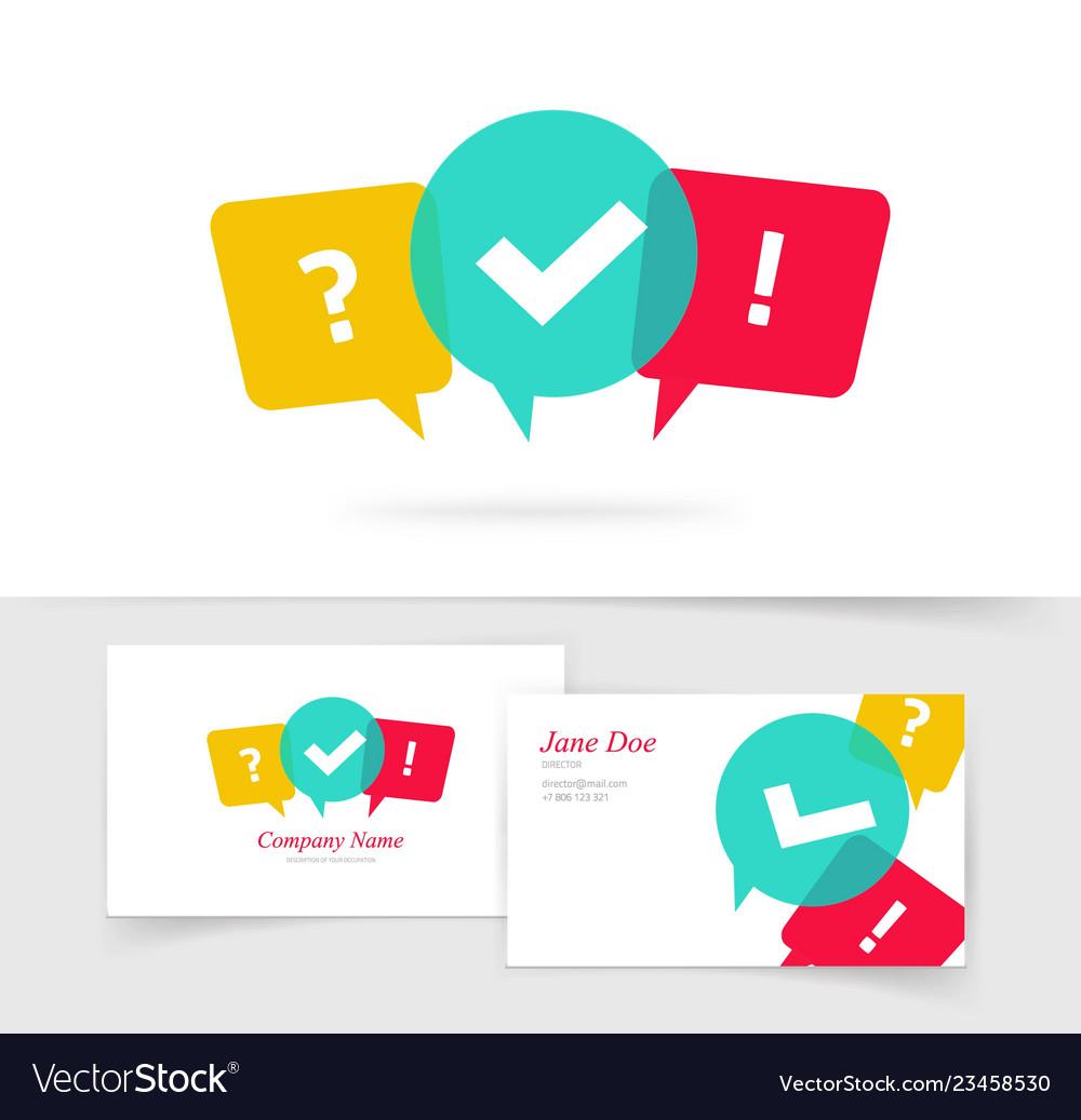 Quiz logo business card questionnaire icon.