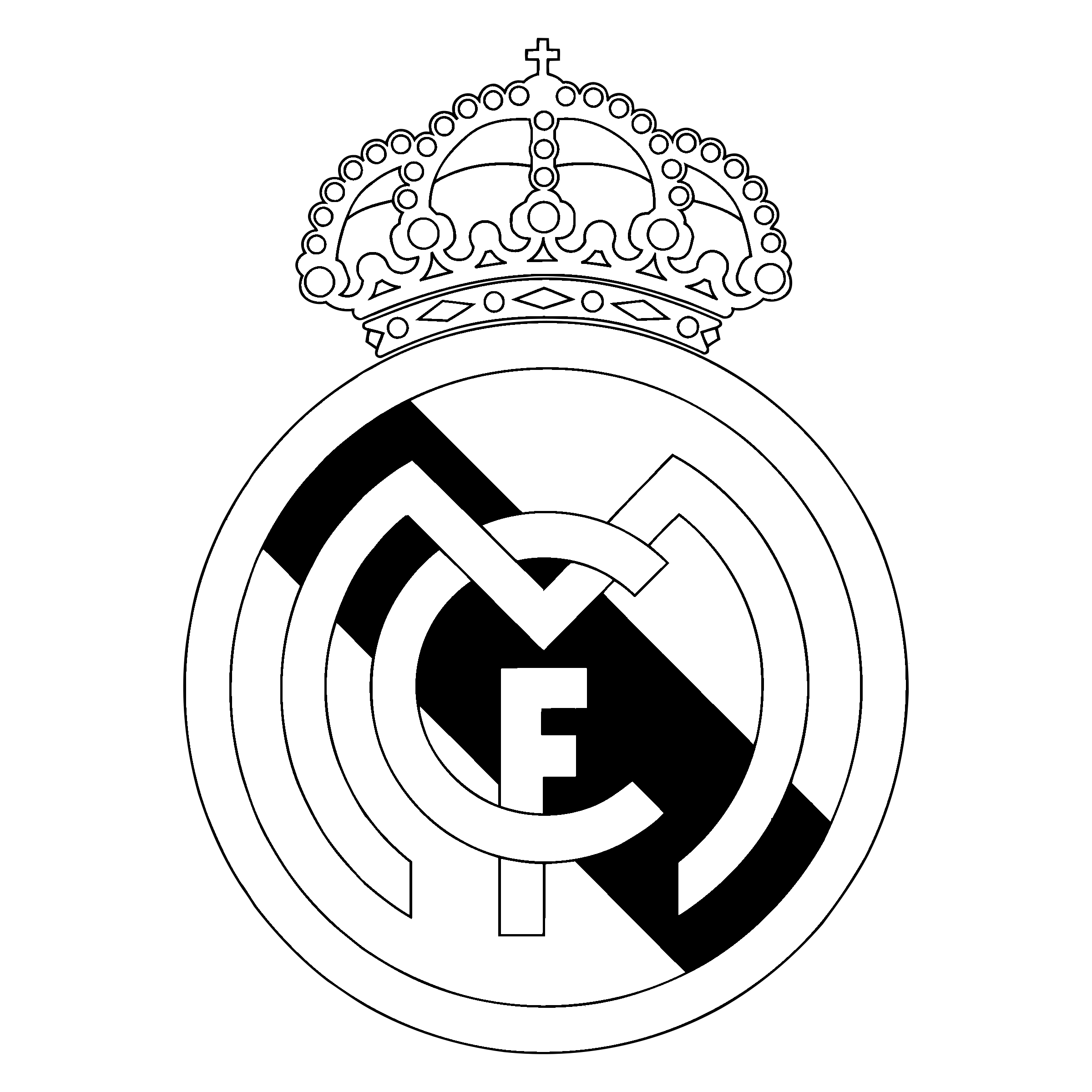 Real Madrid Cf Logo Black And White.